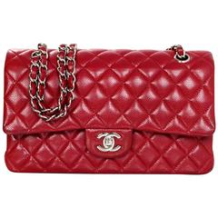 "Chanel Red Quilted Caviar Classic 10"" Medium Double Flap Bag"