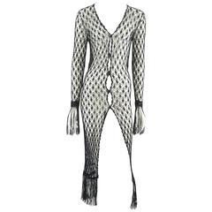 Dolce & Gabbana Black Crochet Sweater with Fringe - S - 1990's