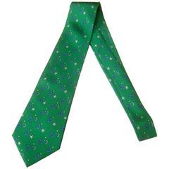 Hermes Paris Whimsical Sea Life Green Silk Necktie in Hermes Box