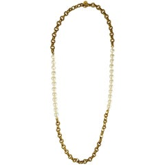 Chanel Vintage Faux Pearl and Chain-link Necklace