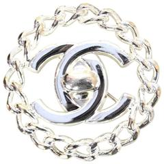 Chanel Silvertone CC Brooch w. Chain Border
