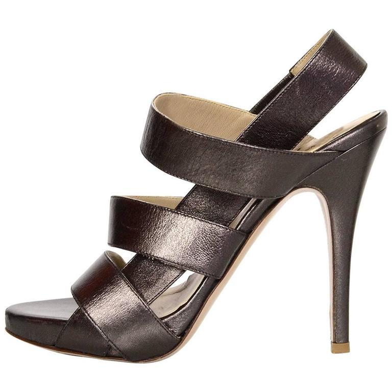 Valentino Bronze Leather Sandals Sz 37