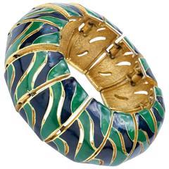 70s Lanvin Large Serpent Like Enamel Link Bracelet