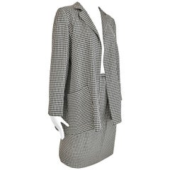 1970s Christian Dior Couture Black and White Checkered Jacket and skirt set