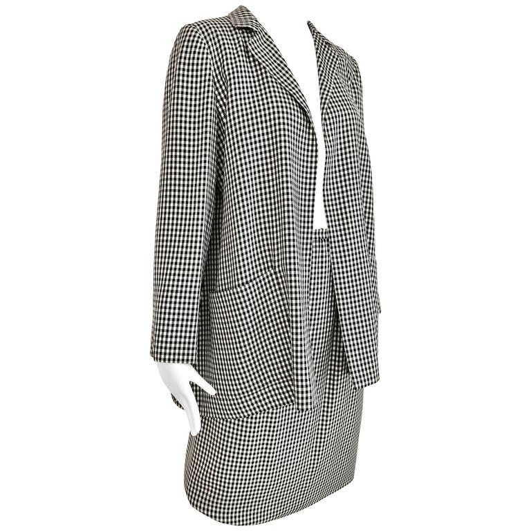 1970s Christian Dior Couture Black and White Checkered Jacket and skirt set For Sale