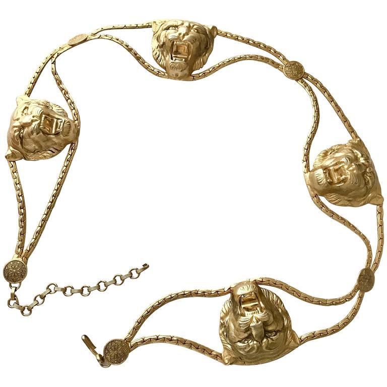 1970s Vintage Lion Buckle Chain Belt