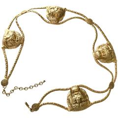 1970s Vintage Lion Buckle Chain Belt