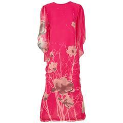 1970s Hanae Mori Hot Pink Maxi Print Dress