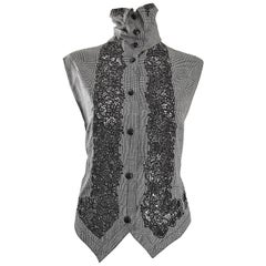 Rare Early Gianni Versace Black and White Houndstooth Plaid Embroidered Vest Top
