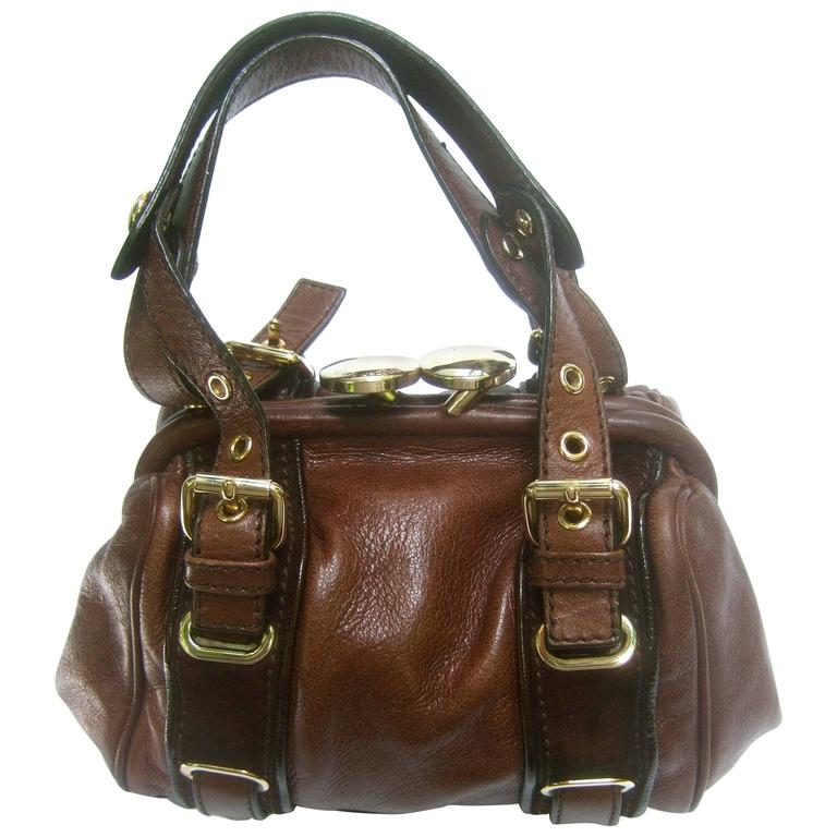 Marc Jacobs Italian Brown Leather Diminutive Handbag  For Sale