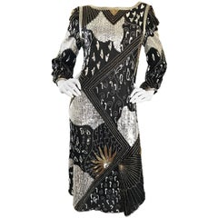 Vintage Judith Ann Black, Silver, Gold Sequin Beaded Silk Chiffon Flapper Dress
