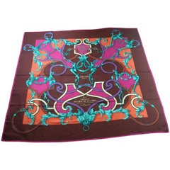 RARE HERMES Cashmere Silk L'Instruction du Roi Shawl 140 -55   / Brand New