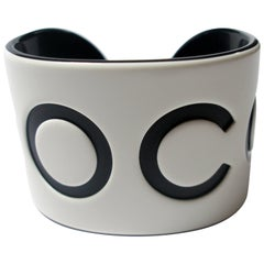 VINTAGE CHANEL White & Black Resin COCO Large Wide Cuff Bangle Bracelet