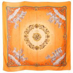 "Large Hermes Orange Cosmos Cashmere Silk Shawl 55''X 55"""
