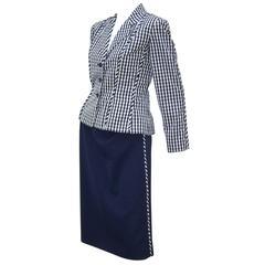 Crisp 1970's Bill Blass Blue & White Gingham Skirt Suit