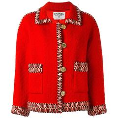 Chanel Red Wool Boucle Jacket