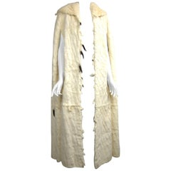 Vintage 1920's Ermine Fur Cape Coat Jacket with Detachable Bottom Hooded