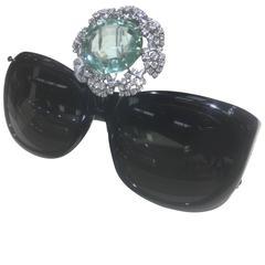 Stacy Engman ART ROYALTY 45ct Aqua with 4ct Diamond Sunglasses-Tiara in Platinum