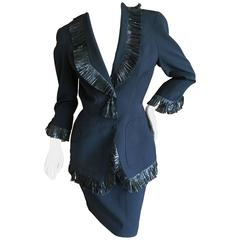 Thierry Mugler Vintage 1980's Black Suit with Raffia Fringe Tassel and Trim