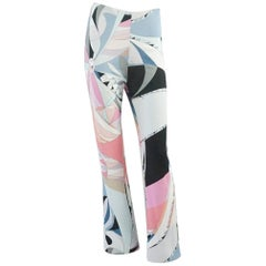 Emilio Pucci Grey and Pink Printed Jersey Palazzo Pants – 34