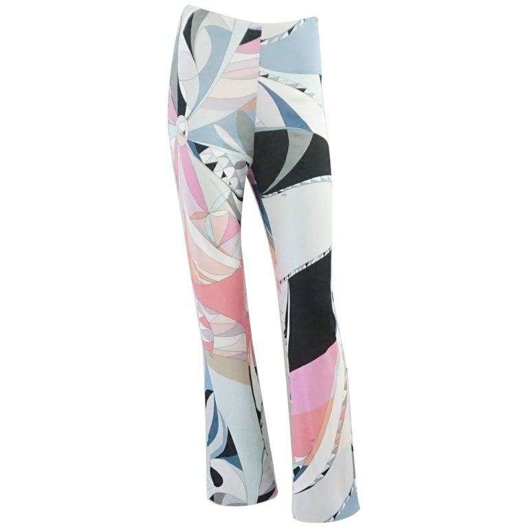Emilio Pucci Grey and Pink Printed Jersey Palazzo Pants – 34