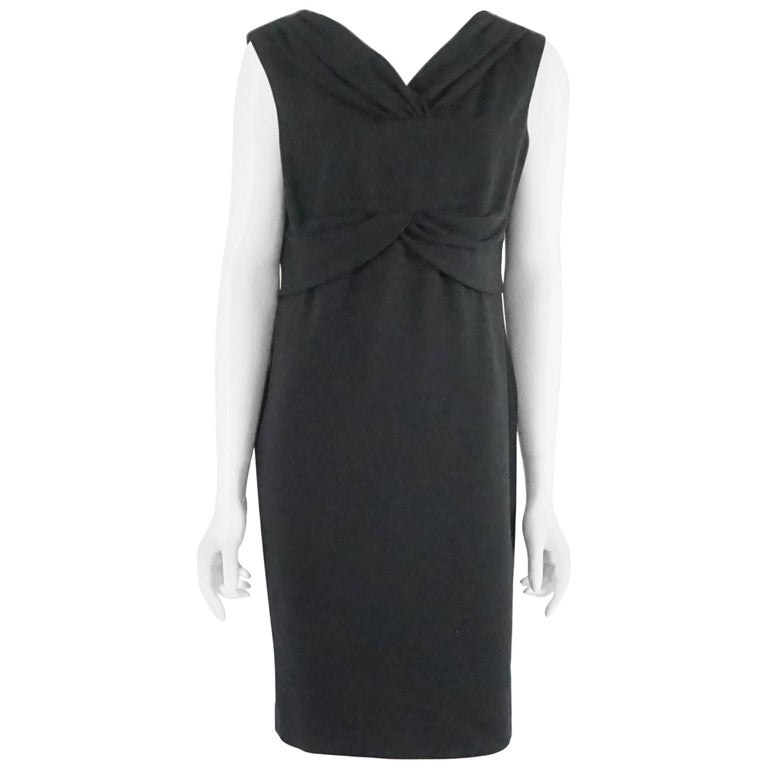 Valentino Black Wool Sleeveless Dress with Draped Neck – 8 For Sale