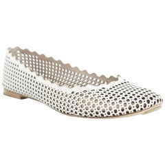 Chloe White Perforated Leather Ballet Flats – 39