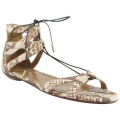 Aquazzura Ivory Snake Print Tie-Up Sandals – 38