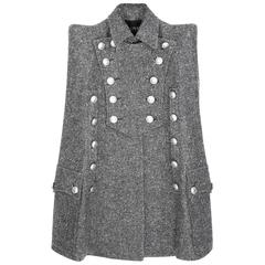 BALMAIN Tweed Military Cape  38 Mint