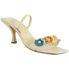 Fendi Beige Leather and Multi Floral Sandals - 7.5