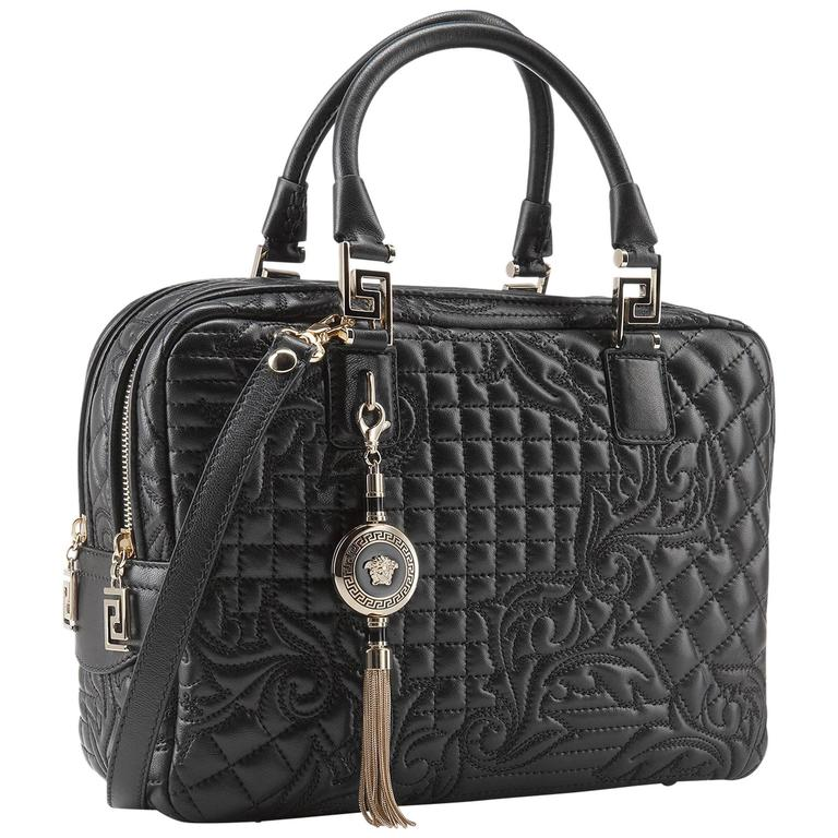 New Versace Black Quilted Leather Demetra Vanitas Bag For