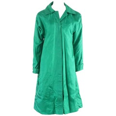 Carmen's Hilldale Vintage Green Silk Coat - M - 1970's