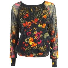 Jean Paul Gaultier Black and Multi Floral Mesh Top – S