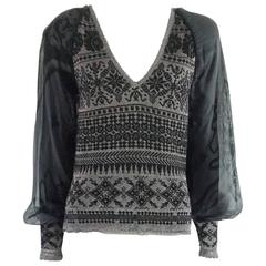 Jean Paul Gaultier Black and Grey Knit Sweater with Chiffon Sleeves – S