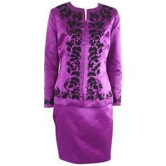 Oscar Purple Satin and Black Soutache Beading Skirt Suit – L