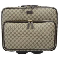 Gucci Brown Monogram Rolling Suit Case