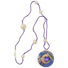Emilio Pucci Purple Cord Necklace with Printed Stone Pendant
