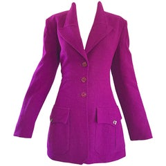 1990s Chloe by Karl Lagerfeld Magenta Pink Vintage 90s Military Inspired Jacket