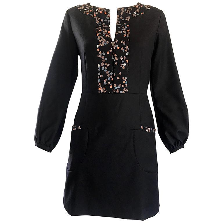 1990s Chloe by Karl Lagerfeld Black Wool + Silk Long Sleeve Vintage 90s Dress For Sale
