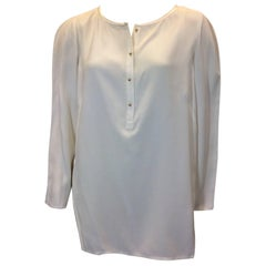 Lafayette 148 White Silk Blouse with Button Detail