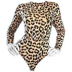 1990s Escada by Margaretha Ley Leopard Cheetah Print Vintage 90s Cotton Bodysuit