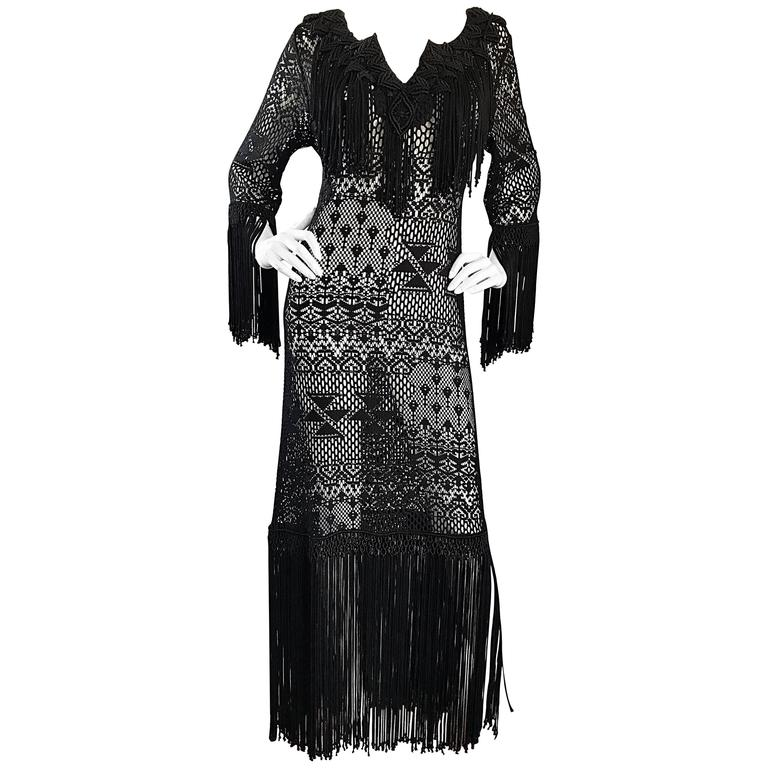Amazing 1970s Black Hand Crochet Fringe 70s Vintage Embrodiered Boho Maxi Dress For Sale