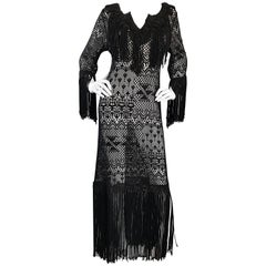 Amazing 1970s Black Hand Crochet Fringe 70s Vintage Embrodiered Boho Maxi Dress