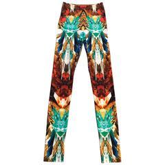 Alexander McQueen 2009 Crystal Kaleidoscope Multicolor Print Legging Leggings