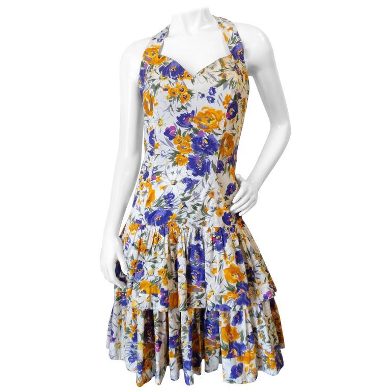 RARE 1980s Ted Lapidus Paris Boutique Floral Haute Couture Dress