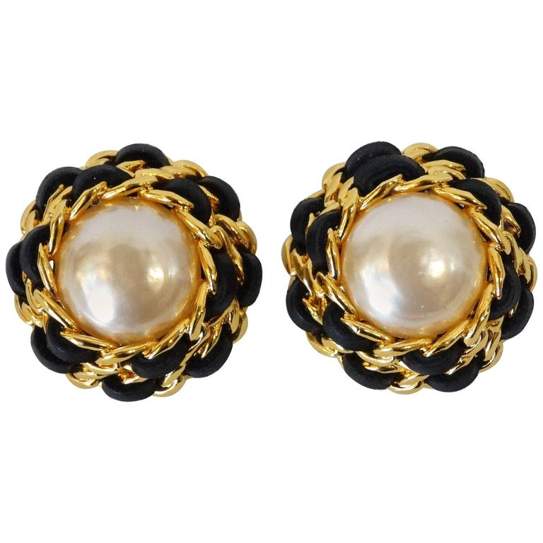 1980s Chanel Pearl Double Chain Earrings For Sale