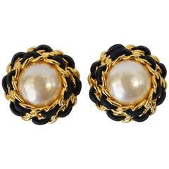 1980s Chanel Pearl Double Chain Earrings