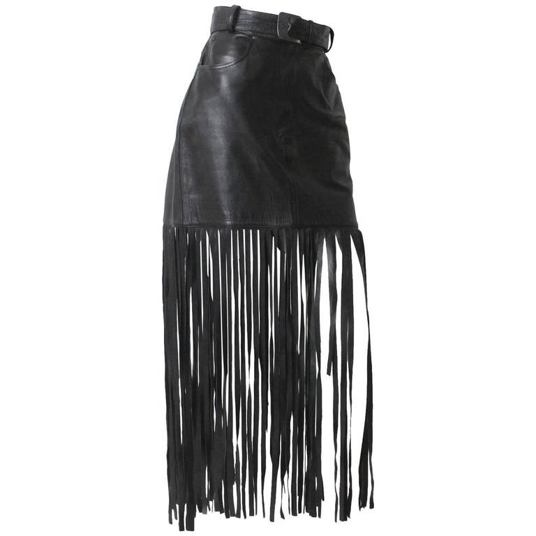 1980s Claude Montana Black Leather Floor Length Fringe Skirt