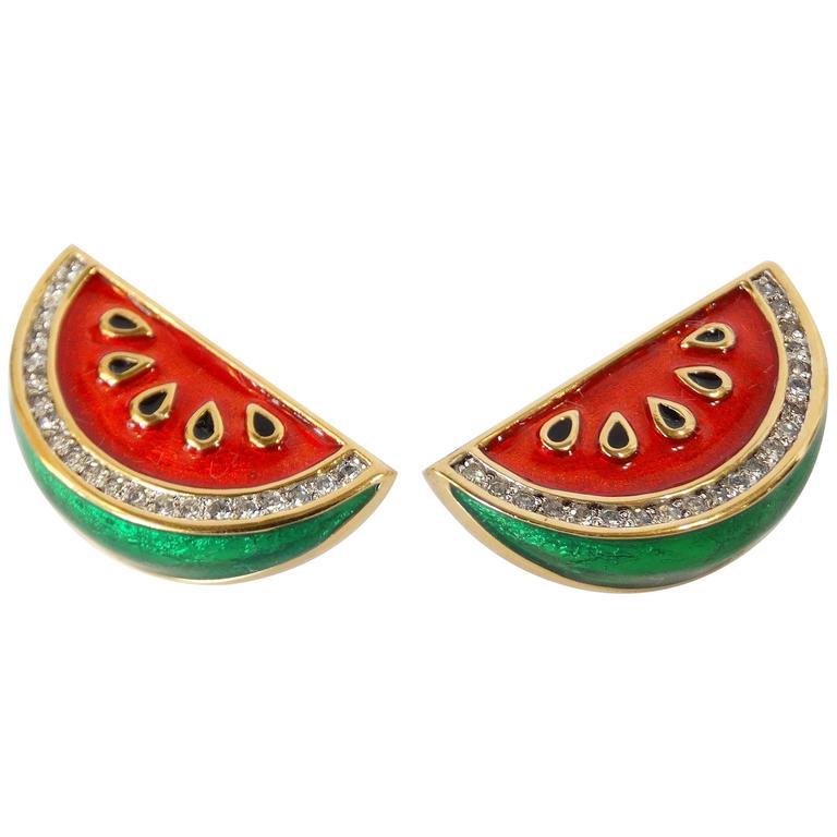 1980s Judith Leiber Watermelon Enamel Crystal Earrings For Sale