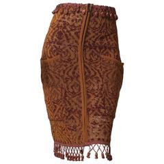 1980s Jean Paul Gaultier Tassled Knit Bodycon Skirt